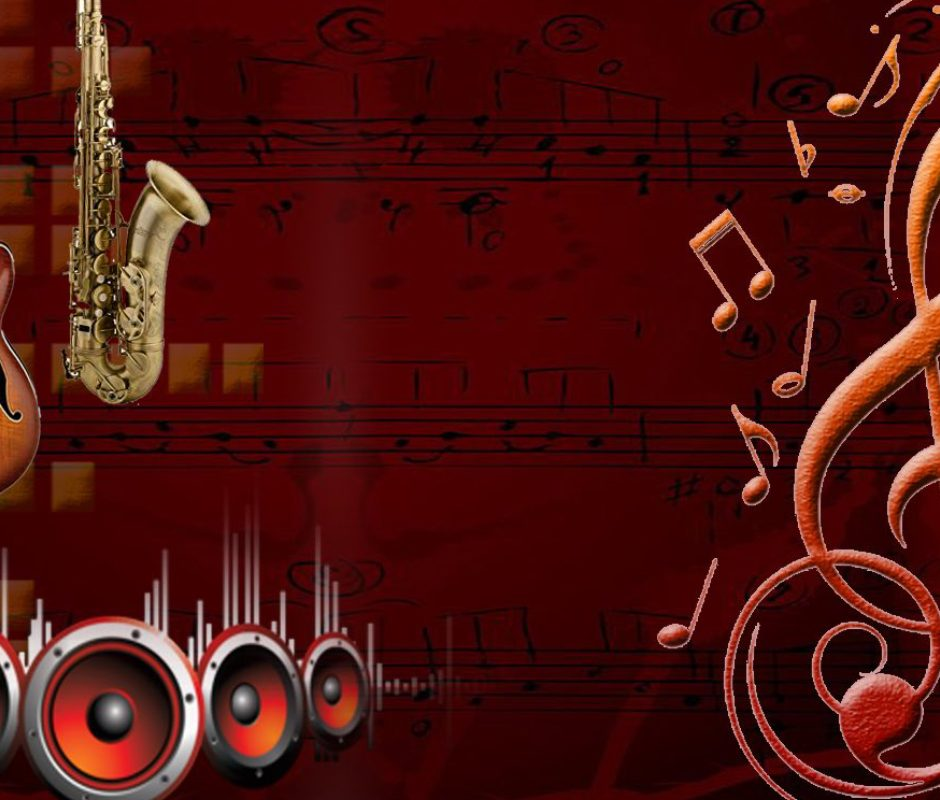 Relaxation Through Musical Instruments Concept - Image Showing Musical Symbols and Musical Instruments In A Dark Brown Background.